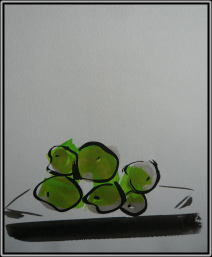 Apple Plate   chinese ink, acrylic   30 cm x 21 cm