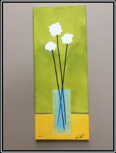 White flowers, Acrylic on canvas, mask tape, 20,0 cm x 50,0 cm