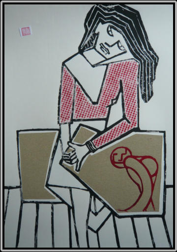 Title: The printing girl     60,0 cm x 42,0 cm   2018